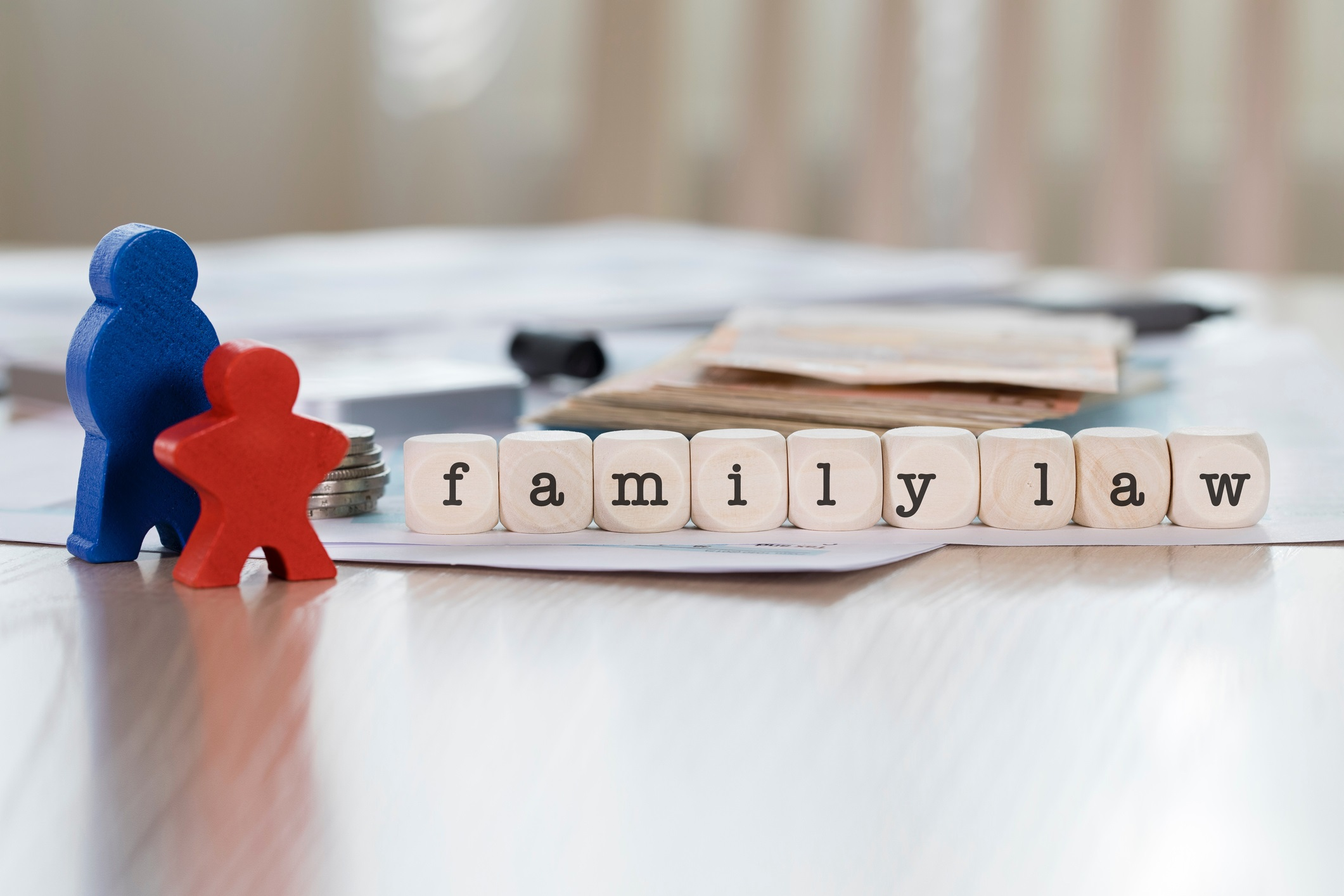 Word FAMILY LAW composed of wooden letters.