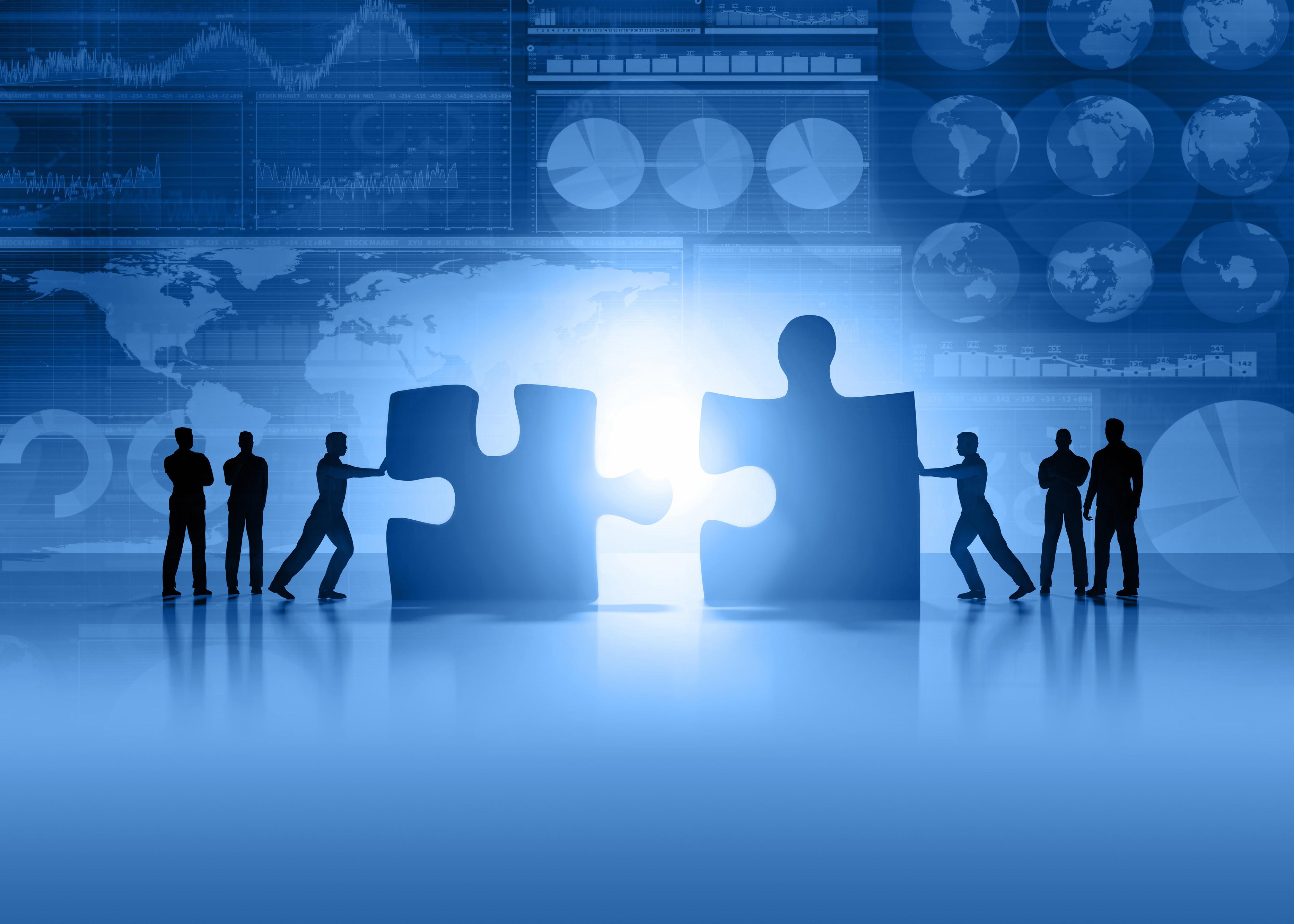 Business teamwork and global finance blue background
